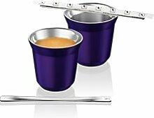Nespresso Pixie Espresso Ristretto Metall Becher Tasse - schwarz