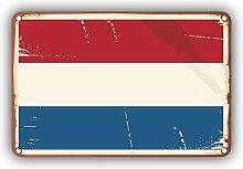 Netherlands Flag Retro Vintage - Self-Adhesive