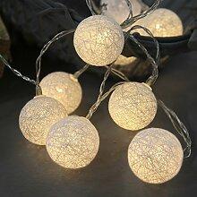netproshop LED Batterie Lichterkette Cotton Balls
