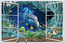 Nette 3D Fenster Dolphin Wandaufkleber