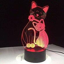Nette Flh Cat Lampe 7 Farben ändern Nachtlicht