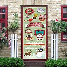 Nette Karikatur Weihnachten Tür Aufkleber Für