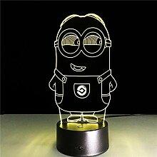 Nette Minion Yellow Man 3D Farbwechsel Licht Lampe
