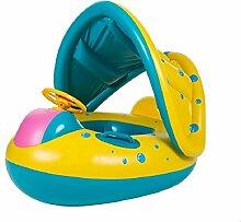 Netter aufblasbarer Baby Pool Floss, TechCode aufblasbarer Baby-Pool-Hin- und Herbewegungsring-Kinderkleinkind-Hilfe-Sitz-Boot mit Sun-Überdachung für das Alter 6 bis 24 Monate mit Aufbewahrungstasche und Luftpumpe (6 bis 24 Monate)