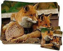 Netter roter Fox Cubs Zwillings Platzdeckchen und