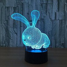 Nettes Kaninchen 7 Farbwechsel LED 3D Nachtlicht