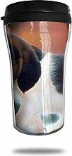 Nettes Welpenmuster Glas Kaffeebecher Travel Mug