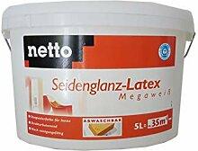 Netto Wandfarbe Latex Seidenglanz Megaweiß 5 Liter