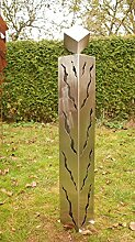 Neu 2015 Edelstahl Gartendeko 100cm mit Rissen und Würfel