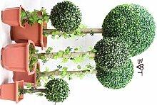 NEU: 5 x Buchsbäume (5 Stück) Buchsbaum Buchsbaumfamilie grün dunkelgrün KOMPLETT mit Echtholzstamm Holz und Deko Efeuranke + Moos auf Wunsch mit Solarbeleuchtung SOLAR LICHT BELEUCHTUNG (Zubehör) mit Terracotta Topf Plastik und stabilem Fuß (Zement) Kunstpflanzen stabile Dekobäumchen künstliche Bäume Bäumchen Kugel Buxbaumkugel + Solarlicht LED Lampe 2 Lampen Lichterbaum Kunstblume Pflanzen Sichtschutz