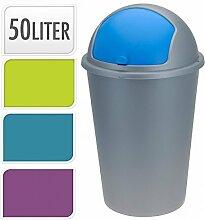 Neu 50 Liter Kuppel Recycling Mülleimer Müll Plastik Karton Verfügung Küche Abfalleimer Mit Schiebedeckel - Türkis