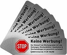 NEU 7 x Keine Werbung Aufkleber für Briefkasten