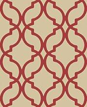 NEU Decadence Marokkanische Trellis hochwertiges Vlies 10m Tapete Rot dl30618