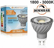 NEU! LEDANDO GU10 COB LED Strahler 7W mit dimmbarer Farbtemperatur - 1800-3000K warmweiß - Ra >95 - 420lm - 60° Abstrahlwinkel - anti-glare Linse - 50W Ersatz [7 W LED Spot GLOW DIM TO WARM]