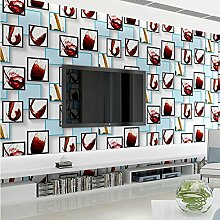 Neu Modernes einfaches Rotwein Glas Vliestapete Sofa Hintergrund Tapete , blue