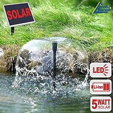 NEU! SOLARTEICHPUMPE SOLAR WASSERSPIEL SPRINGBRUNNEN SOLAR TEICH FONTÄNE für GARTENTEICH mit AKKU LED LICHT mit 5-WATT-SOLARPANEL im STABILEN ALU-RAHMEN (Solar Oasis 500-3 Li&LED)