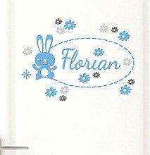 Neu tjapalo® pkt7 Wandtatoo Türaufkleber mit Namen für jungen süßer Hase Kinderzimmer Baby junge Wandtattoos Namensaufkleber Wand Sticker mit Wunschname (Breite 45 cm (TOP))