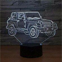 Neue 3D Lampe Jeep 7 Farbe LED Nachtlampen für