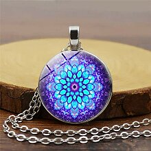 Neue abstrakte Mandala Halskette Glas Mandala