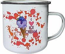 Neue Aquarell Leckeres Eis Retro, Zinn, Emaille 10oz/280ml Becher Tasse h340e