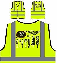Neue Bbq Und Grill Fleisch Partei Personalisierte High Visibility Gelbe Sicherheitsjacke Weste m553v