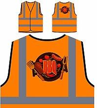 Neue Bbq Und Grill Fleisch Partei Personalisierte High Visibility Orange Sicherheitsjacke Weste m559vo