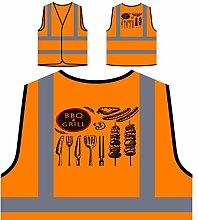 Neue Bbq Und Grill Fleisch Partei Personalisierte High Visibility Orange Sicherheitsjacke Weste m553vo