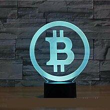 Neue Bitcoin 3D Lampe Sieben Farben Touch Led