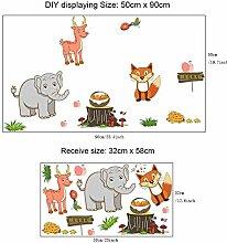 Neue Cartoon Tier Wandaufkleber Elefant Hirsch Fox