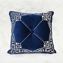 Neue Chinesisch-amerikanische moderne Stickerei manuell Blauen Sofa Bett Kissen Kissen Auto schwebenden Fenster Panels auf der Packung, 45 X 45 CM, zwischen -20545 CMBU