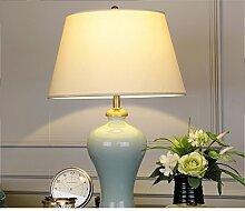 Neue Chinesische,Wohnzimmerlampe/Amerikanischen,Gartenleuchten/Moderne Einfach,Studie Lampe/Blue Lights/Kupfer Keramik Tischleuchte-A