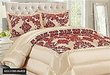 Neue Damast Luxus Super Weich 3Flock Gesteppte Tagesdecke Tröster Bett, cremefarben rot, Polyester, Cream Red, Double Bed (220cm X 240cm)