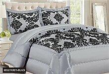 Neue Damast Luxus Super Weich 3Flock Gesteppte Tagesdecke Tröster Bed–Silber Grau Schwarz, Polyester, Silver Grey Black, Double Bed (220cm X 240cm)