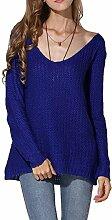 Neue Damen Blau übergroße lose Armatur Jumper Top Pullover Casual Wear Größe UK 8–10EU 36–38