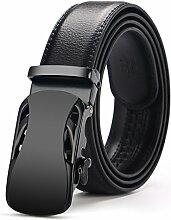 Neue Herren Top Rindsleder echtem Leder Ratsche Kleid automatische Buckle Gürtel Luxus Gürtel Business Gürtel für Männer Cinto, Color 2, 125 cm