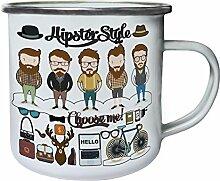 Neue Hipster Designs Sammlung Retro, Zinn, Emaille 10oz/280ml Becher Tasse l238e