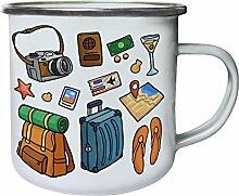 Neue Kamera Foto Wasser Farbe Reise Retro, Zinn, Emaille 10oz/280ml Becher Tasse h563e