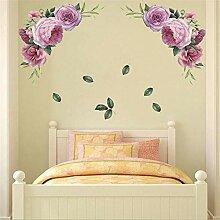 Neue lila Pfingstrose grüne Wandaufkleber