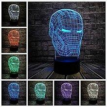 Neue Marvel Avengers 3D Lampe Iron Man Maske Led