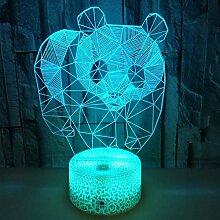 Neue Panda Colourful Touch 3D Nachtlicht Crack 3D