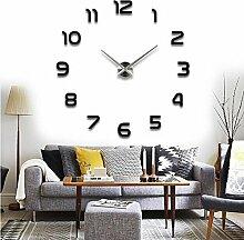 Neue populäre Gespiegelt Acryl DIY Selbstklebende Innenwand kreative Dekoration Uhr Duvar Aufkleber Wandaufkleber Homel Aufkleber, Schwarz