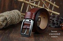 Neue Produkt Echt Leder Gürtel für Herren Marke Gurt Stecker Pin Schnalle Vintage Jeans Gürtel