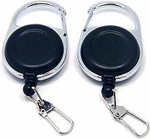 Neue Produkt SAMS 2Fly Angeln Zinger Retractor Roll-Schlüsselanhänger Tools ID Badge Holder mit Karabiner Clip Nylon Cord Schwarz YOYO rund ohne Schiene