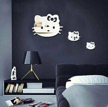 Neue Spiegel, an der Wand Aufkleber Hello Kitty drei Katzen spiegel Aufkleber Kinderzimmer Deko Aufkleber, Silber