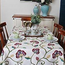 Neue Stickerei Pastoral American Dorf Tuch Tischdecke,Tabelle Tuch,Kaffee Tischdecke-A 130x190cm(51x75inch)