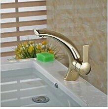 Neue TougMoo Mixer Bad Armatur chrom Waschbecken Wasserhahn Golden mit Warm- und Kaltwasserleitungen, Golden