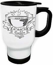 Neuer Kaffee-Logo-Design Weiß Thermischer Reisebecher 14oz 400ml Becher Tasse m353tw