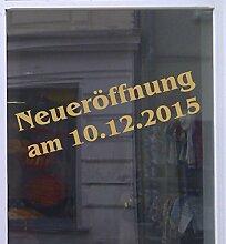 Neueröffnung mit Datum Schaufensterbeschriftung Aufkleber Werbung Auto Laden Gold 1 Stück 120 cm