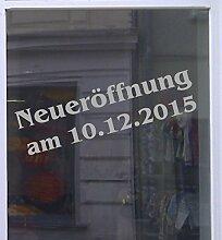 Neueröffnung mit Datum Schaufensterbeschriftung Aufkleber Werbung Auto Laden Hellgrau 1 Stück 50 cm