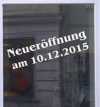 Neueröffnung mit Datum Schaufensterbeschriftung Aufkleber Werbung Auto Laden Weiß 1 Stück 100 cm